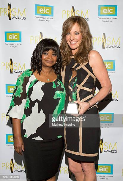 Actresses Octavia Spencer and Allison Janney pose for a photo with the 2014 PRISM Award for Performance in a Comedy Series at the 18th Annual PRISM...