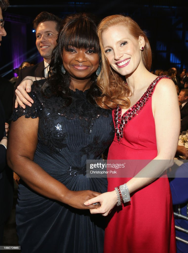 Actresses <a gi-track='captionPersonalityLinkClicked' href=/galleries/search?phrase=Octavia+Spencer&family=editorial&specificpeople=2538115 ng-click='$event.stopPropagation()'>Octavia Spencer</a> and <a gi-track='captionPersonalityLinkClicked' href=/galleries/search?phrase=Jessica+Chastain&family=editorial&specificpeople=653192 ng-click='$event.stopPropagation()'>Jessica Chastain</a> attend the 18th Annual Critics' Choice Movie Awards held at Barker Hangar on January 10, 2013 in Santa Monica, California.