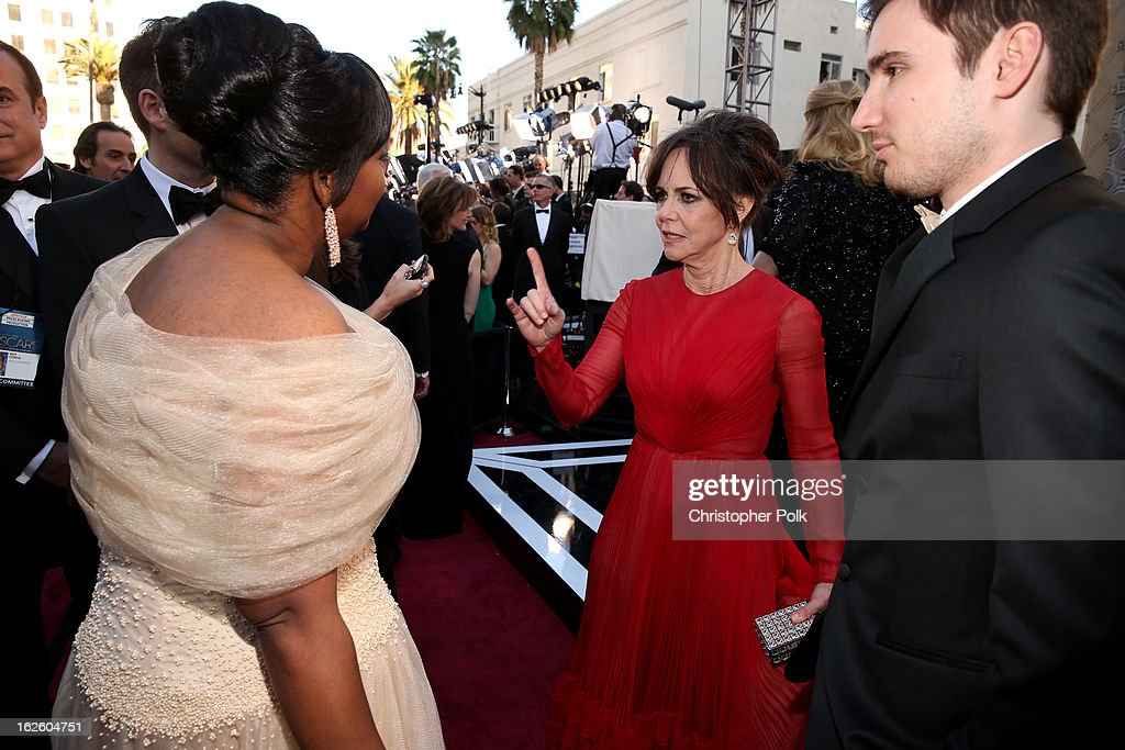 Actresses Octavia Spencer (L) and Sally Field arrive at the Oscars held at Hollywood & Highland Center on February 24, 2013 in Hollywood, California.