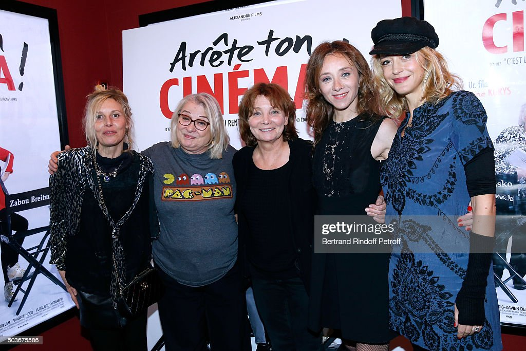 Actresses of the movie Florence Thomassin, Josiane Balasko, Director of the movie Diane Kurys, Actresses of the movie Sylvie Testud and Helene de Fougerolles attend the 'Arrete Ton Cinema !' Paris Premiere at Publicis Champs Elysees on January 6, 2016 in Paris, France.