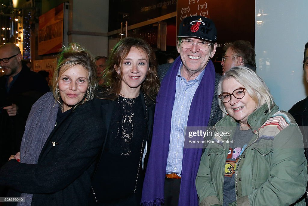 Actresses of the movie Florence Thomassin, Sylvie Testud, Director Jean-Marie Poire and Actress of the movie Josiane Balasko and her husband attend the 'Arrete Ton Cinema !' Paris Premiere at Publicis Champs Elysees on January 6, 2016 in Paris, France.