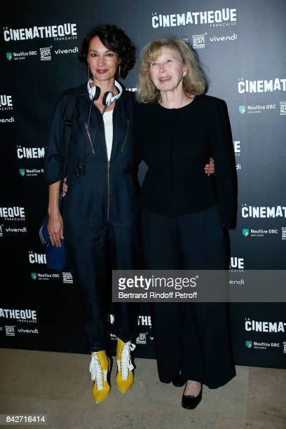 Actresses of the movie Jeanne Balibar and Aurore Clement attend the 'Barbara' Paris Premiere at Cinematheque Francaise on September 4 2017 in Paris...