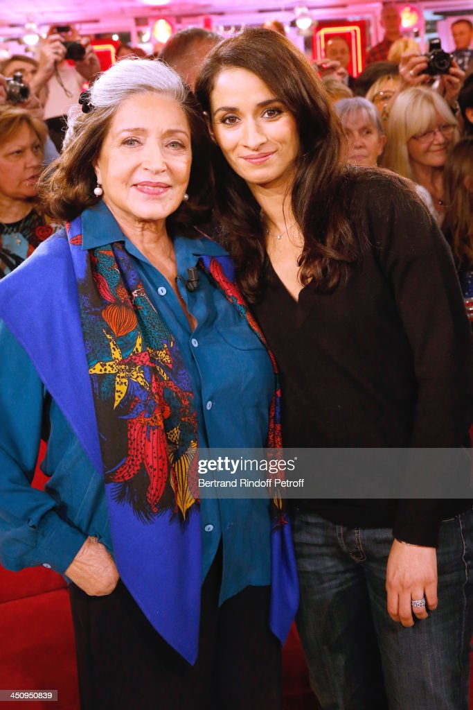 Actresses of Theater piece 'Sonate d'automne' Francoise Fabian and <a gi-track='captionPersonalityLinkClicked' href=/galleries/search?phrase=Rachida+Brakni&family=editorial&specificpeople=609273 ng-click='$event.stopPropagation()'>Rachida Brakni</a> attend the 'Vivement Dimanche' French TV Show, held at Pavillon Gabriel on November 20, 2013 in Paris, France.