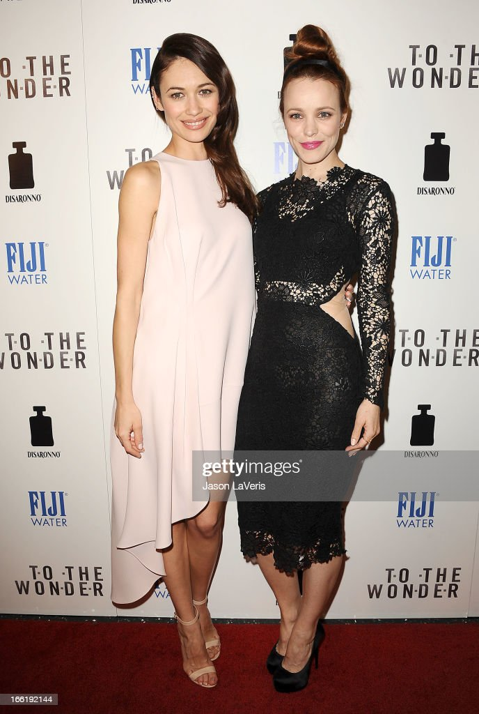 Actresses <a gi-track='captionPersonalityLinkClicked' href=/galleries/search?phrase=Olga+Kurylenko&family=editorial&specificpeople=630281 ng-click='$event.stopPropagation()'>Olga Kurylenko</a> and <a gi-track='captionPersonalityLinkClicked' href=/galleries/search?phrase=Rachel+McAdams&family=editorial&specificpeople=212942 ng-click='$event.stopPropagation()'>Rachel McAdams</a> attends the premiere of 'To The Wonder' at Pacific Design Center on April 9, 2013 in West Hollywood, California.