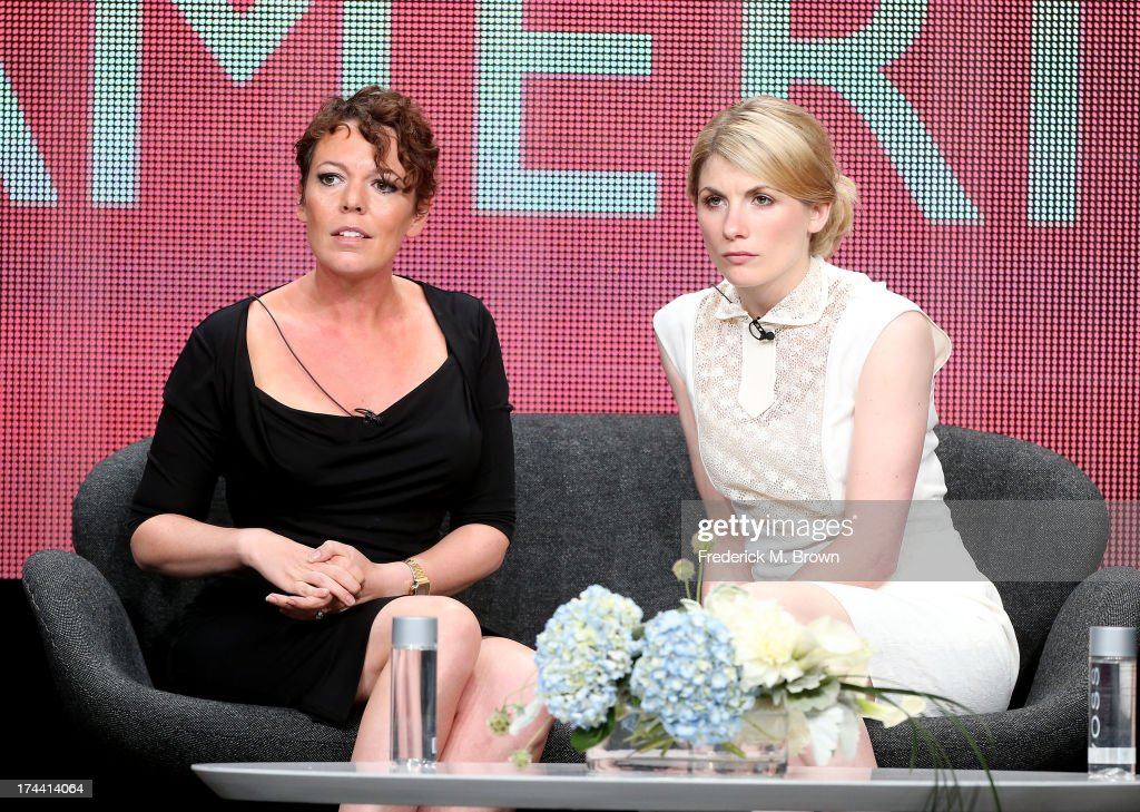 Actresses <a gi-track='captionPersonalityLinkClicked' href=/galleries/search?phrase=Olivia+Colman&family=editorial&specificpeople=5153582 ng-click='$event.stopPropagation()'>Olivia Colman</a> (L) and <a gi-track='captionPersonalityLinkClicked' href=/galleries/search?phrase=Jodie+Whittaker&family=editorial&specificpeople=3964596 ng-click='$event.stopPropagation()'>Jodie Whittaker</a> speak onstage at the 'Broadchurch' panel discussion during the BBC America portion of the 2013 Summer Television Critics Association tour - Day 2 at the Beverly Hilton Hotel on July 25, 2013 in Beverly Hills, California.