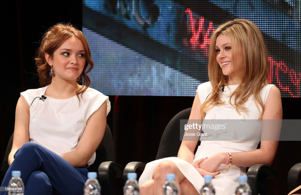 Actresses Olivia Cooke and Nicola Peltz attend A&E's 'Bates Motel' TCA Panel at the Langham Hotel on January 4, 2013 in Pasadena, California.