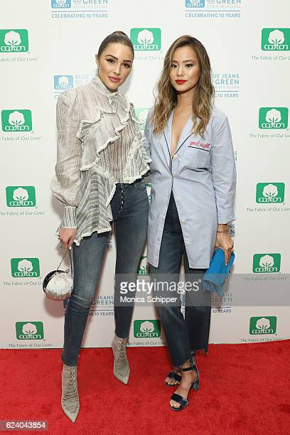 Actresses Olivia Culpo and Jamie Chung attend Cotton Incorporated's celebration of 10 Years of the Blue Jeans Go Green denim recycling program with a...