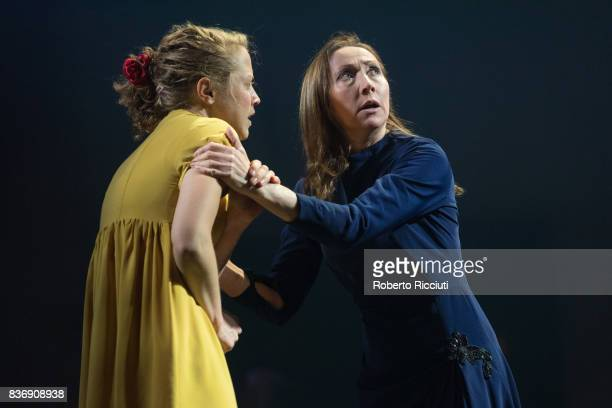 Actresses Olivia Morgan and Pauline Knowles perform on stage 'Oresteia This Restless House' during a photo call at Lyceum Theatre as part of the 70th...