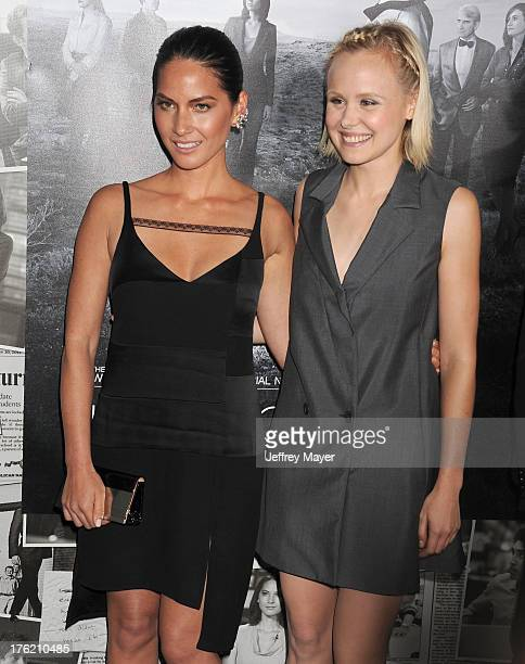 Actresses Olivia MunnAlison Pill arrive at the Los Angeles Season 2 Premiere Of HBO's Series 'The Newsroom' at Paramount Studios on July 10 2013 in...