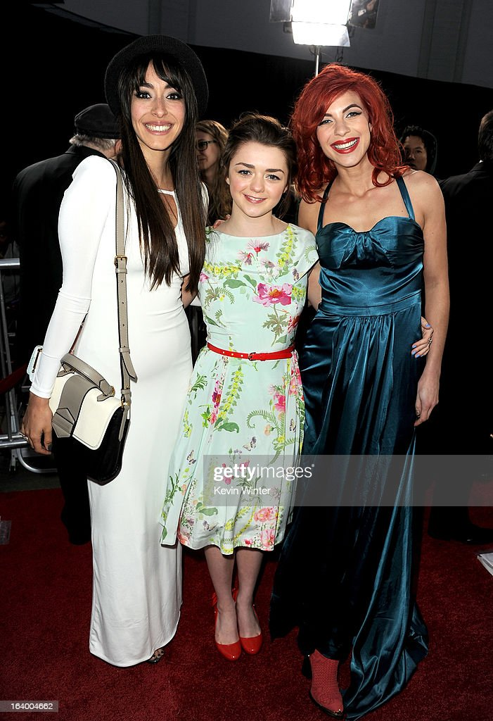Actresses Oona Chaplin, Maisie Williams, and Natalia Tena arrive at the premiere of HBO's 'Game Of Thrones' Season 3 at TCL Chinese Theatre on March 18, 2013 in Hollywood, California.
