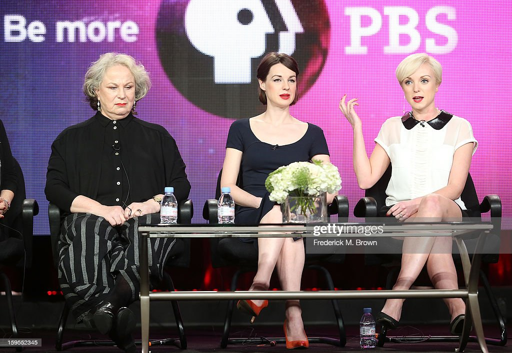 Actresses Pam Ferris, Jessica Raine, and Helen George speak onstage during the 'Call The Midwife' panel discussion during the PBS Portion- Day 2 of the 2013 Winter Television Critics Association Press Tour at Langham Hotel on January 15, 2013 in Pasadena, California.