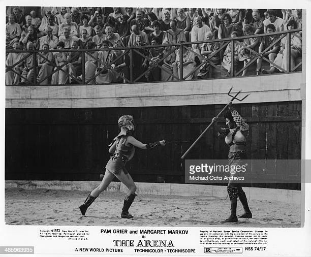 Actresses Pam Grier and Marketa Markov in a scene from the movie 'The Arena' which was released on January 15 1974