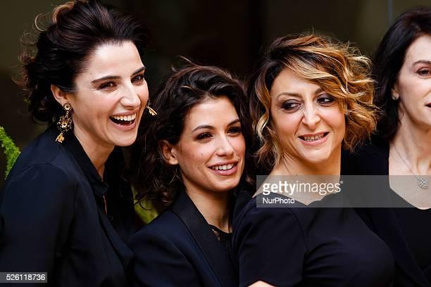 actresses Paola Minaccioni Luisa Ranieri and Giulia Michelini attends 'Fasten your Seatbelts' photocall in Rome Visconti Palace
