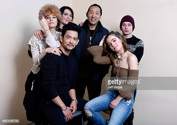 Actresses Parker Posey Michelle Forbes filmmaker Kogonada actor Rory Culkin actors John Cho and Haley Lu Richardson from the film 'Columbus' pose for...