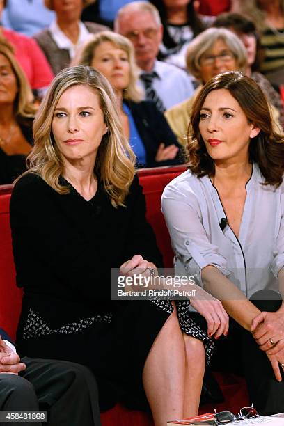 Actresses Pascale Arbillot and Valerie Karsenti present the Theater play 'Chambre froide' during the 'Vivement Dimanche' French TV Show at Pavillon...