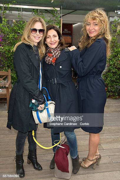 Actresses Pascale Arbillot Valerie Karsenti and Julie Ferrier attend day twelve of the 2016 French Open at Roland Garros on June 2 2016 in Paris...