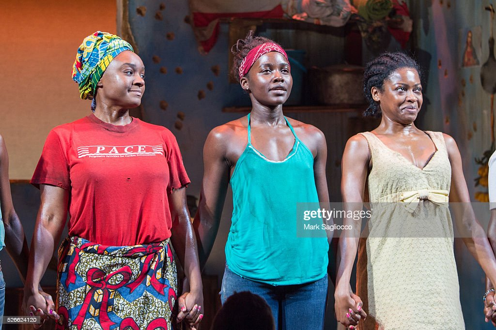 Actresses Pascale Armand, Lupita Nyong'o and Saycon Sengbloh attend 'Eclipsed' To Launch A Dedications Series In Honor Of Abducted Chibok Girls Of Northern Nigeria at Golden Theatre on April 30, 2016 in New York City.