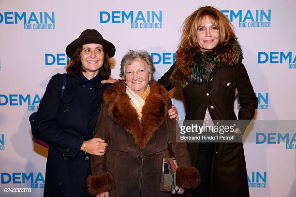 Actresses Pascale Pouzadoux Marthe Villalonga and Clementine Celarie attend the 'Demain Tout Commence' Paris Premiere at Cinema Le Grand Rex on...