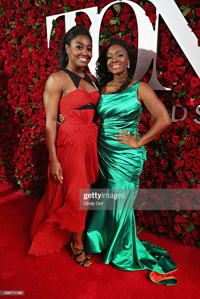 Actresses Patina Miller and Saycon Sengbloh attend the 70th Annual Tony Awards at The Beacon Theatre on June 12 2016 in New York City