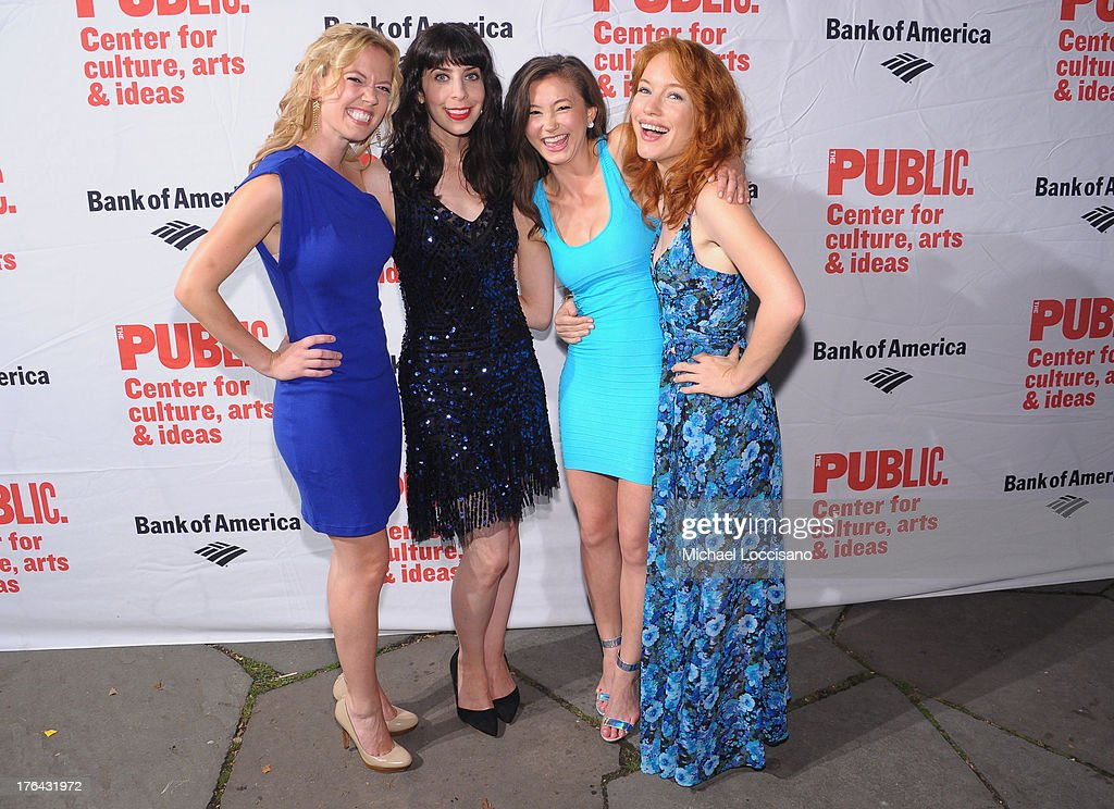 Actresses <a gi-track='captionPersonalityLinkClicked' href=/galleries/search?phrase=Patti+Murin&family=editorial&specificpeople=5399533 ng-click='$event.stopPropagation()'>Patti Murin</a>, Audrey Lynn Weston, Kimiko Glenn and Maria Thayer attend The Public Theater's 'Love's Labour's Lost' Opening Nght at Delacorte Theater on August 12, 2013 in New York City.