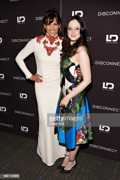 Actresses Paula Patton and Andrea Riseborough attend the'Disconnect' New York Special Screening at SVA Theater on April 8 2013 in New York City