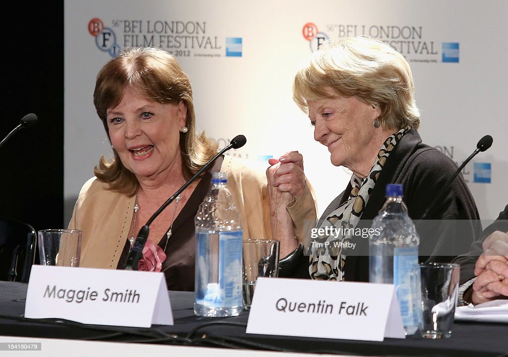 Actresses Pauline Collins and <a gi-track='captionPersonalityLinkClicked' href=/galleries/search?phrase=Maggie+Smith&family=editorial&specificpeople=206821 ng-click='$event.stopPropagation()'>Maggie Smith</a> as they attend the 'Quartet' press conference during the BFI London Film Festival at the Empire Leicester Square on October 15, 2012 in London, England.