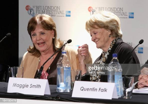 Actresses Pauline Collins and Maggie Smith as they attend the 'Quartet' press conference during the BFI London Film Festival at the Empire Leicester...