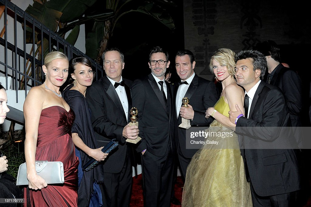 Actresses Penelope Ann Miller and Berenice Bejo, guest, director Michel Hazanavicius, actors Jean Dujardin and Missi Pyle, and producer Thomas Langmann attend The Weinstein Company's 2012 Golden Globe Awards After Party with Chopard, Marie Claire and HP at The Beverly Hilton hotel on January 15, 2012 in Beverly Hills, California.