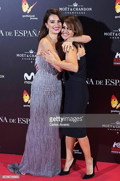 Actresses Penelope Cruz and Monica Cruz attend 'La Reina de Espana' premiere at Callao City Lights on November 24 2016 in Madrid Spain