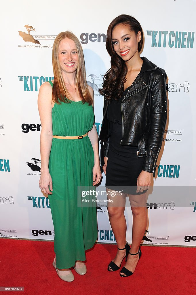 Actresses Pepper Binkley (L) and Amber Stevens arrive at the Los Angeles premiere of 'The Kitchen' at Laemmle NoHo 7 on March 14, 2013 in North Hollywood, California.