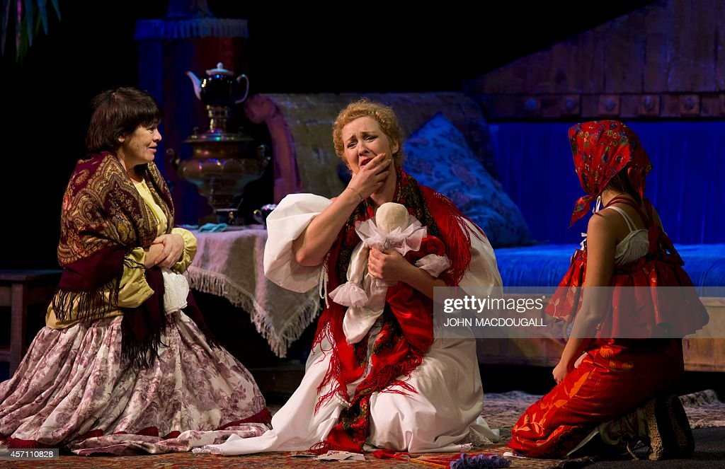 Actresses perform during a dress rehearsal of 'Marriage' a play by Russian author Nikolai Gogol at the Donetsk National Academic Ukrainian Musical...
