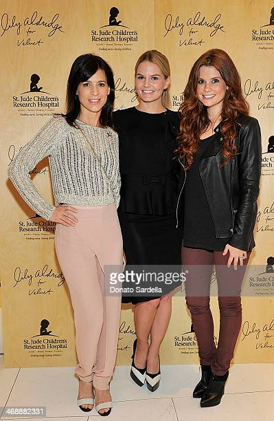 Actresses Perrey Reeves Jennifer Morrison and JoAnna Garcia attend Lily Aldridge for Velvet launch party in support of St Jude on February 11 2014 in...
