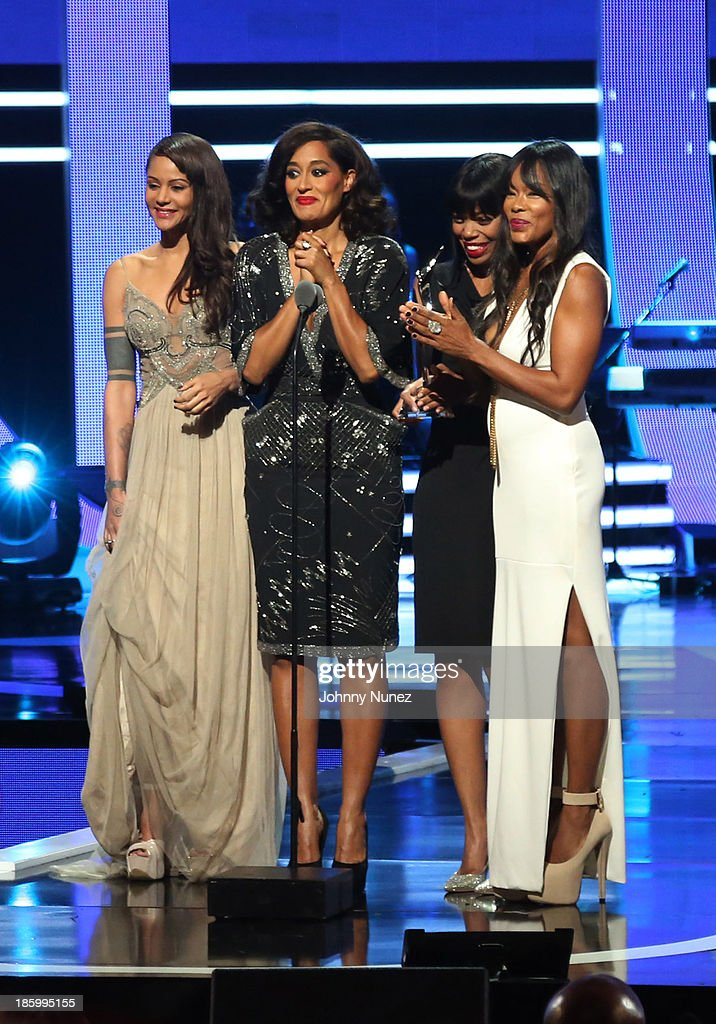 Actresses <a gi-track='captionPersonalityLinkClicked' href=/galleries/search?phrase=Persia+White&family=editorial&specificpeople=210683 ng-click='$event.stopPropagation()'>Persia White</a>, <a gi-track='captionPersonalityLinkClicked' href=/galleries/search?phrase=Tracee+Ellis+Ross&family=editorial&specificpeople=211601 ng-click='$event.stopPropagation()'>Tracee Ellis Ross</a>, <a gi-track='captionPersonalityLinkClicked' href=/galleries/search?phrase=Jill+Marie+Jones&family=editorial&specificpeople=239481 ng-click='$event.stopPropagation()'>Jill Marie Jones</a>, and <a gi-track='captionPersonalityLinkClicked' href=/galleries/search?phrase=Golden+Brooks&family=editorial&specificpeople=211460 ng-click='$event.stopPropagation()'>Golden Brooks</a> attend Black Girls Rock! 2013 at New Jersey Performing Arts Center on October 26, 2013 in Newark, New Jersey.
