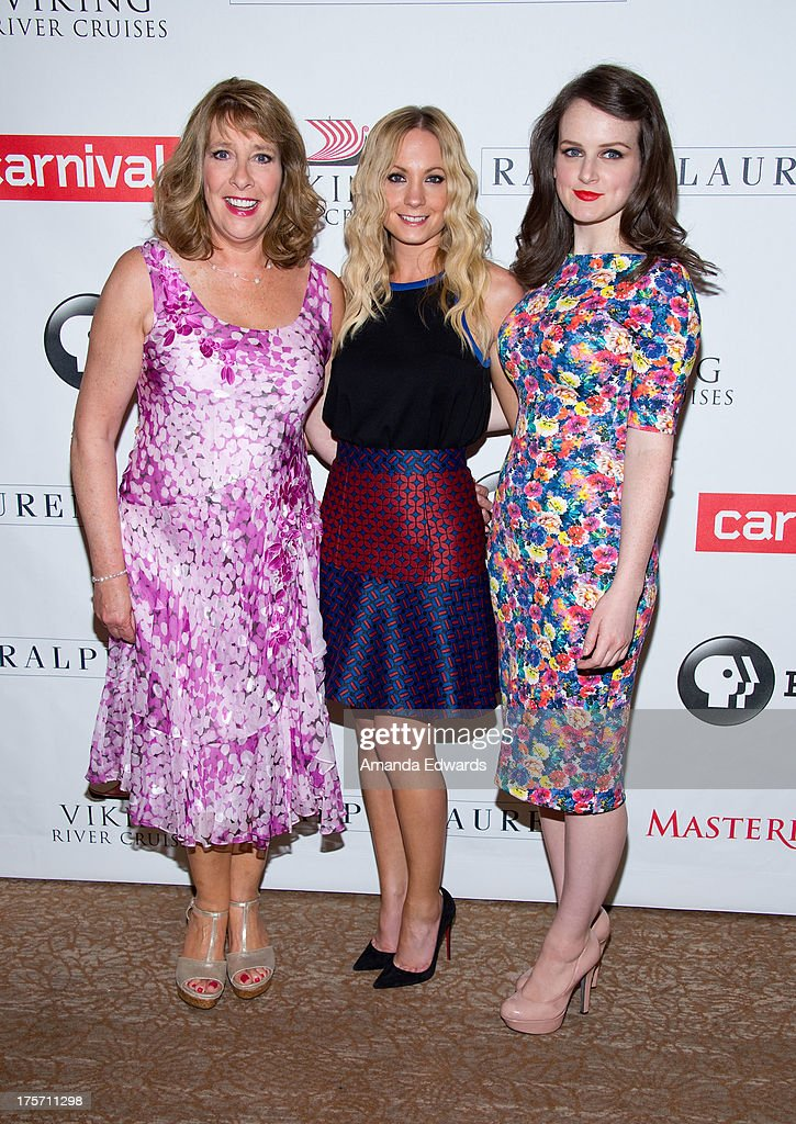 Actresses Phyllis Logan, Joanne Froggatt and Sophie McShera arrive at the 'Downton Abbey' photo call at The Beverly Hilton Hotel on August 6, 2013 in Beverly Hills, California.