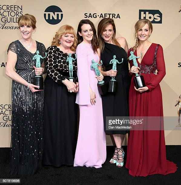Actresses Phyllis Logan Lesley Nicol Sophie McShera Joanne Froggatt and Raquel Cassidy winners of Outstanding Performance by an Ensemble in a Drama...