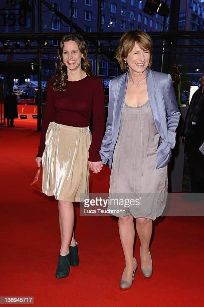 Actresses Picco von Groote and Corinna Harfouch attend the 'Was Bleibt' Premiere during day six of the 62nd Berlin International Film Festival at the...
