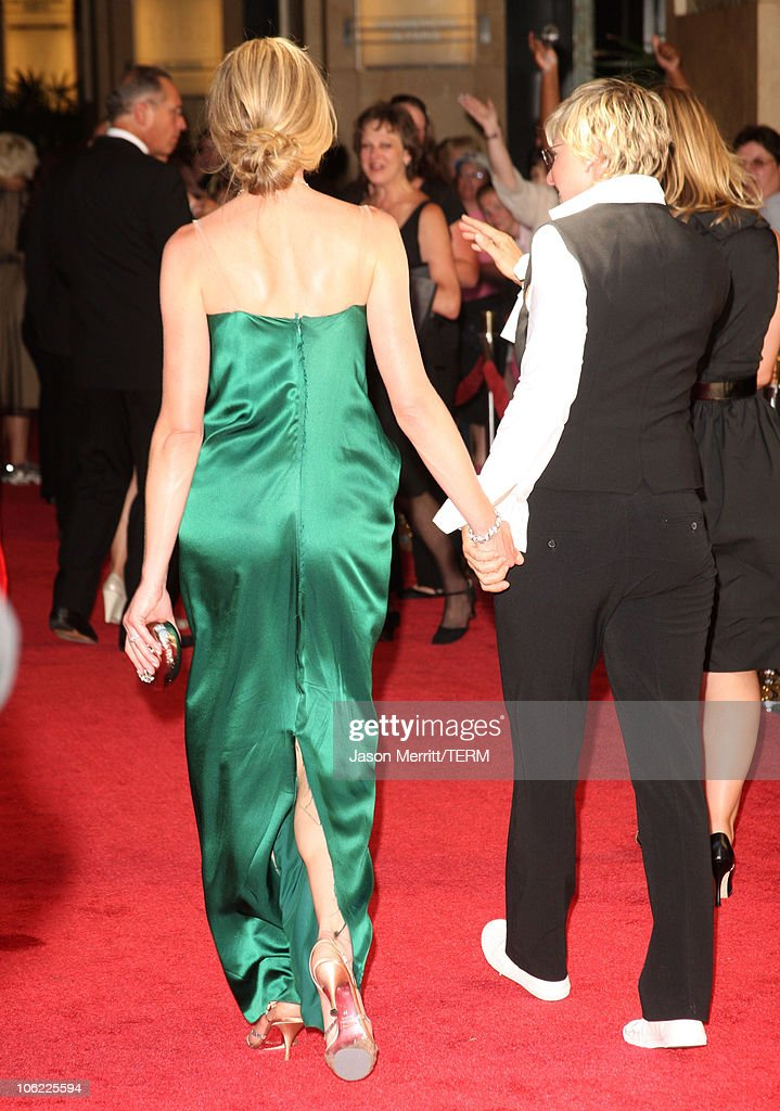 Actresses <a gi-track='captionPersonalityLinkClicked' href=/galleries/search?phrase=Portia+de+Rossi&family=editorial&specificpeople=204197 ng-click='$event.stopPropagation()'>Portia de Rossi</a> and <a gi-track='captionPersonalityLinkClicked' href=/galleries/search?phrase=Ellen+DeGeneres&family=editorial&specificpeople=171367 ng-click='$event.stopPropagation()'>Ellen DeGeneres</a> arrive to The 35th Annual Daytime Emmy Awards at the Kodak Theatre on June 20, 2008 in Los Angeles, California.