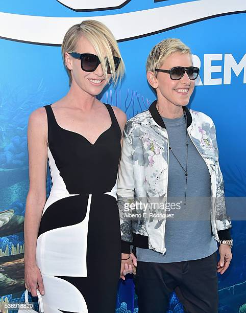 Actresses Portia de Rossi and Ellen DeGeneres attend The World Premiere of DisneyPixar's FINDING DORY on Wednesday June 8 2016 in Hollywood California