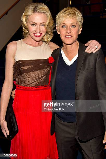 Actresses Portia de Rossi and Ellen DeGeneres pose backstage during the 2012 People's Choice Awards at Nokia Theatre LA Live on January 11 2012 in...