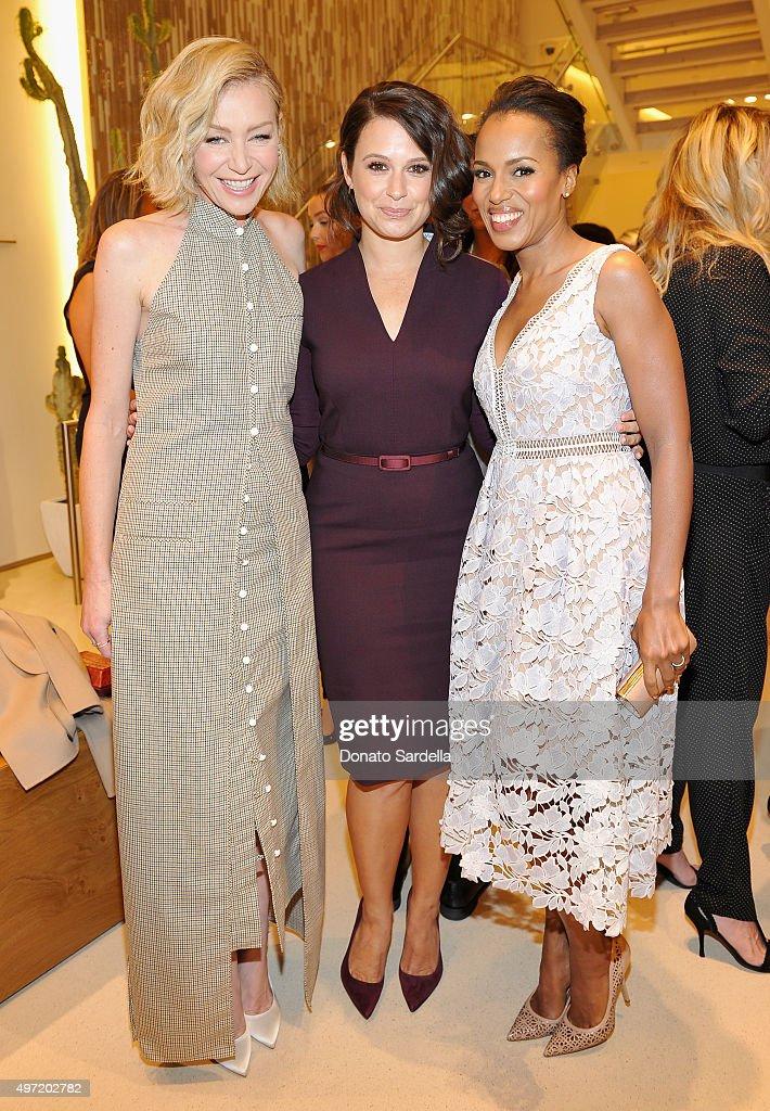 Actresses Portia de Rossi, Katie Lowes, wearing MaxMara, and Kerry Washington attend 'MaxMara & Allure Celebrate ABC's #TGIT' at MaxMara on November 14, 2015 in Beverly Hills, California.
