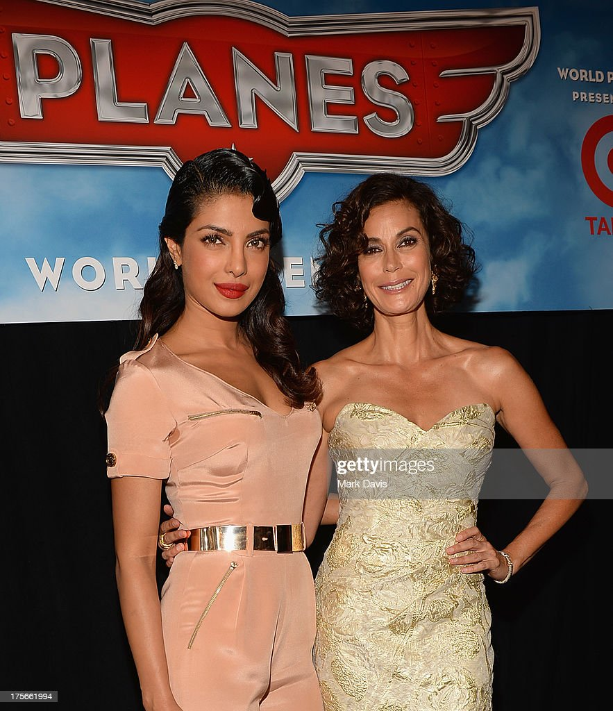 Actresses Priyanka Chopra and Teri Hatcher attend the premiere of Disney's 'Planes' at the El Capitan Theatre on August 5, 2013 in Hollywood, California.