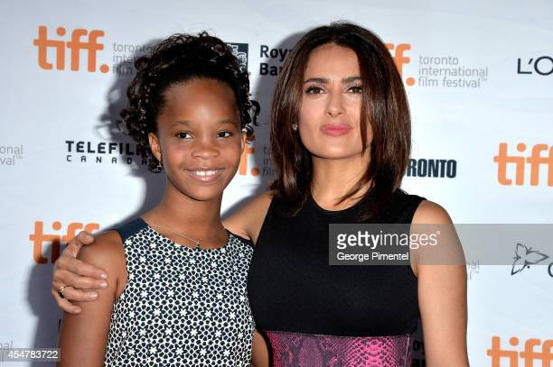 Actresses Quvenzhané Wallis and Salma Hayek attend the 'Kahlil Gibran's The Prophet' premiere during the 2014 Toronto International Film Festival at...
