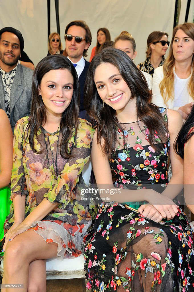 Actresses Rachel Bilson and Emmy Rossum attend the 2013 CFDA/Vogue Fashion Fund Event Presented by thecorner.com and Supported by Audi, Living Proof, and MAC Cosmetics at the Chateau Marmont on October 23, 2013 in Los Angeles, California.