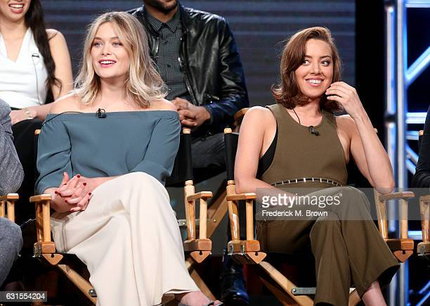 Actresses Rachel Keller and Aubrey Plaza of the television show 'Legion' speak onstage during the FX portion of the 2017 Winter Television Critics...