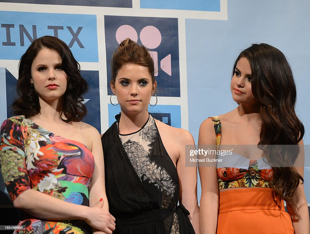 Actresses Rachel Korine, Ashley Benson and actress Selena Gomez speak at the Q & A for 'Spring Breakers' during the 2013 SXSW Music, Film + Interactive at the Paramount Theatre on March 10, 2013 in Austin, Texas.