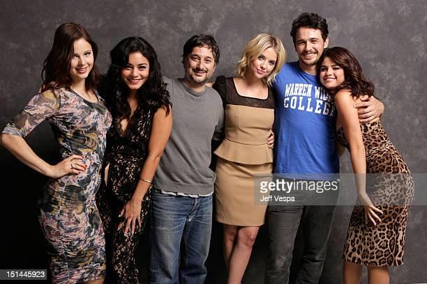 Actresses Rachel Korine Vanessa Hudgens Writer/Director Harmony Korine actors Ashley Benson James Franco and Selena Gomez of 'Spring Breakers' pose...