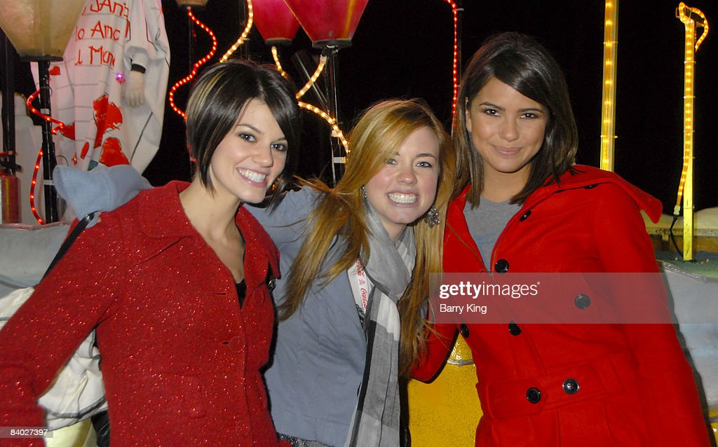 Actresses Rachel Melvin, Molly Burnett and Shelley Hennig attend the 'Live Positively Holiday Parade' held at Staples Center and LA Live on December 13, 2008 in Los Angeles, California.