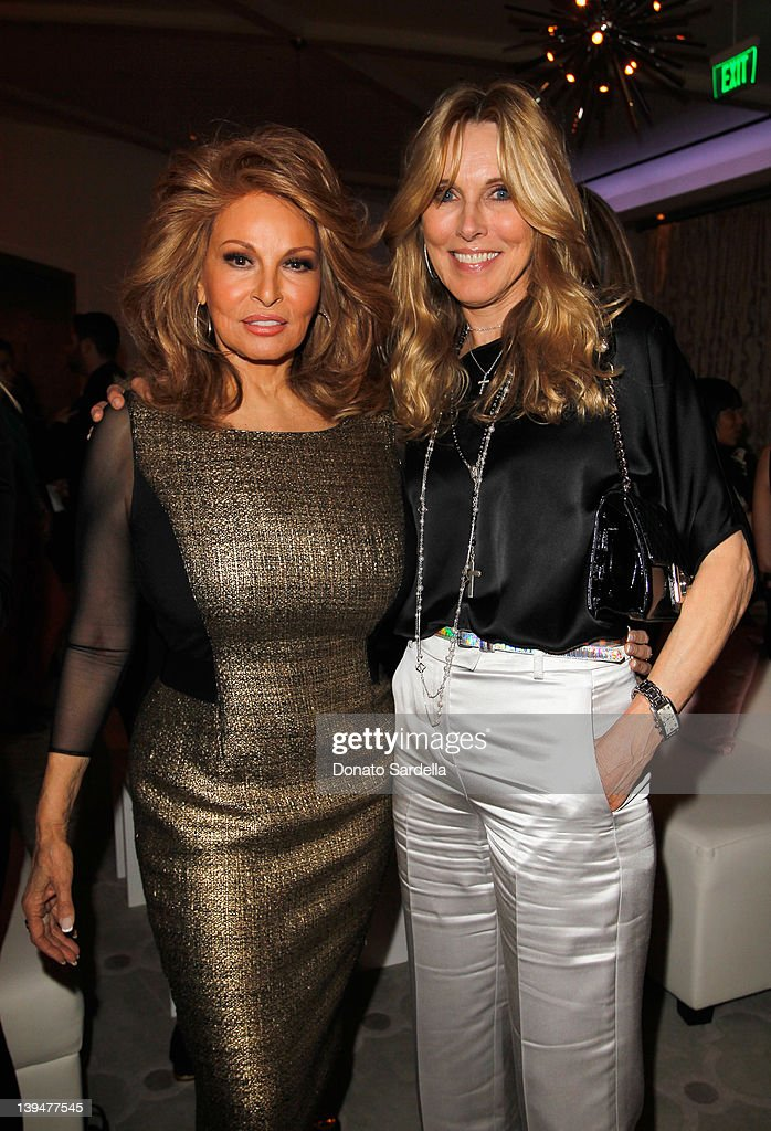 Actresses Raquel Welch (L) and Alana Stewart attend the Vanity Fair Montblanc party celebrating The Collection Princesse Grace de Monaco held at Hotel Bel-Air Los Angeles on February 21, 2012 in Los Angeles, California.