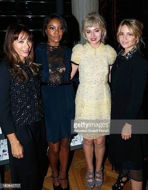 Actresses Rashida Jones Gabrielle Union Imogen Poots and Dianna Agron attend the Miu Miu show as part of the Paris Fashion Week Womenswear...