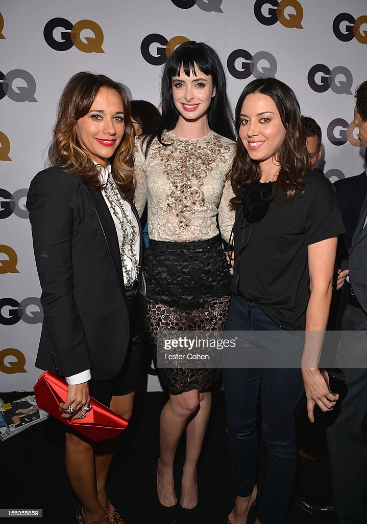 Actresses Rashida Jones, Krysten Ritter and Aubrey Plaza arrive at the GQ Men of the Year Party at Chateau Marmont on November 13, 2012 in Los Angeles, California.
